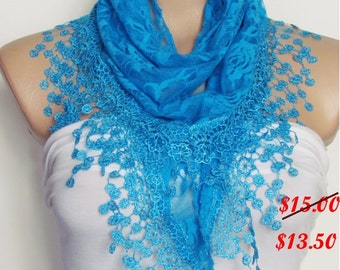 Turquoise Lace Scarf  Shawl Scarf Bridal Accessories Bridesmaids Long Wedding Scarf Women Fashion Accessories Christmas Gift For Her