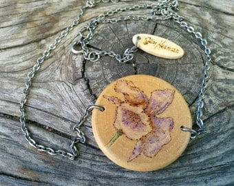 FireSketches© Wooden Iris Flower Pendant