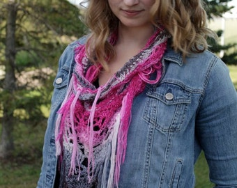 Ombre Knit Scarf - Ombre Infinity Scarf - Ombre Knit Cowl - Triangle Scarf - Crochet Fringe Scarf - Vegan Scarf - Hippie Scarf - Gypsy Scarf