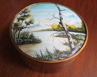 Handpainted Brass Keepsake/Jewel Box Waterside Landscape