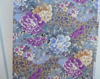 Asian design fabric with large floral print.