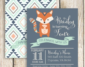 Fox Invitation, Fox Birthday Invitation, Fox Party, Woodland Invitation, Camping Invitation, DIY Includes Front and Back Files, 5x7 or 4x6,