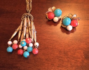 Vintage Necklace and Clip On Earring Set