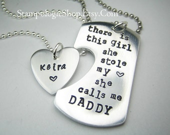 Personalized Handstamped Daddy daughter keychain necklace - There is this girl she calls me daddy father's day