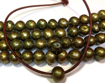 "Large Hole 10mm Olive Green Potato Freshwater Pearl 8"" Strand"