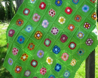 Baby Crib Blanket / Colorful Knitting Patchwork Baby Afghan / Granny Square Crochet Blanket / Baby Afghan