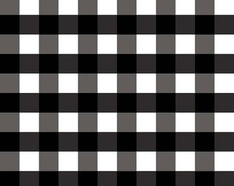 Black Large (1 inch) Gingham Fabric by Riley Blake.  Black and Whtie Checker Check fabric.  100% cotton c355