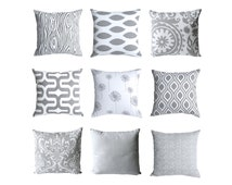 11 Sizes Available: One Grey & White Pillow Cover 18x18 20x20 24x24 26x26 Lumbar Cover Decorative Grey Pillow Grey Throw Pillow Cover-EDAA