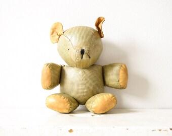 antique teddy bear, stuffed teddy bear, antique teddy, precious old antique stuffed plaid teddy bear, hand stitched, antique