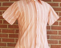 50% OFF Summer Sale Vintage Short Sleeve Button Down Striped Shirt bySears Mens Store