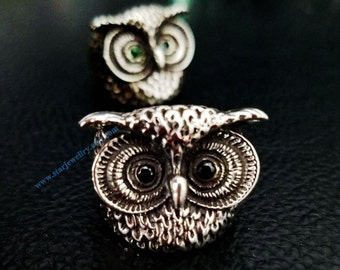 Owl ring 925 sterling silver ring with gem eyes