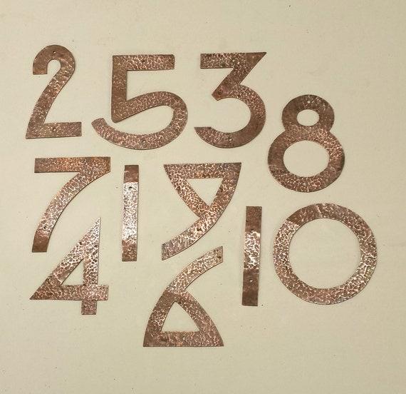 arts and crafts house numbers hammered by davidmeddingsdesign. Black Bedroom Furniture Sets. Home Design Ideas