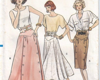 1987 Misses Skirt Pattern, Vogue 9851 A, Size 6-8-10