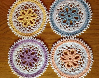 Pastel Doily Coasters