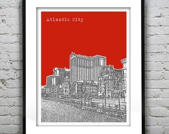 Atlantic City Skyline Poster Art Print New Jersey NJ Boardwalk Version 3