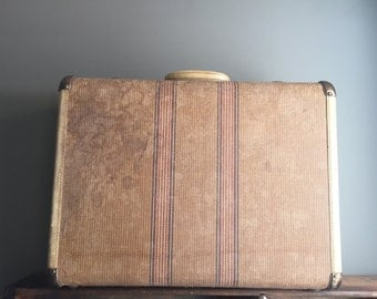 Retro Tweed Striped Suitcase Luggage With Brass Hardware And Key