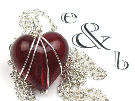 Red Heart Necklace in Ruby Red Venetian Murano Glass with Silver Chain, Valentines Gift for Her, Romantic Gift