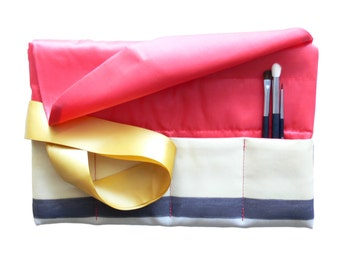 Makeup Brush Roll, Brush Case, Brush Holder, Travel Pouch, Brush Organizer - Gift for Her