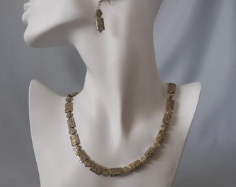 Antique Silver Bead Necklace & Earrings with Etched Fern Design