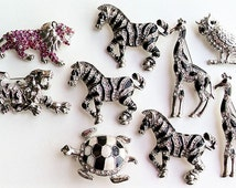 Pin Lot Animal Pins, Animal Brooches, Zebra Pins, Giraffe Pins, Jewelry Pins, Rhinestone Pin Destash, Pin Jewelry Lot, Sale Rhinestone Pins