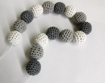Crocheted beads 18mm handmade round set of 15 in white, gray