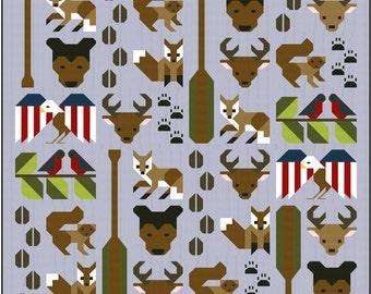 Forest Friends Quilt Pattern, PDF, Instant Download, forest animals, fox, deer, bear, cute, woodland, hunter, animal lover, modern patchwork