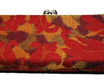 1950s Brocade Glasses Case Red Gold Vintage Retro Cat Eye