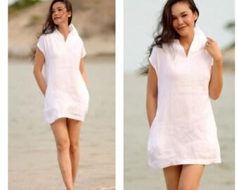 White Lenin  short dress all size
