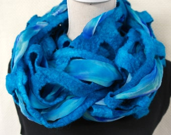 Loop felted shawl with silk chiffon. Blue scarf, wool and silk. Handmade for women .