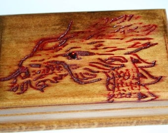 Handcrafted Hand Engraved Dragon Jewelry Box, Wood Leaf Box, Box Skull wood, Eagle Box
