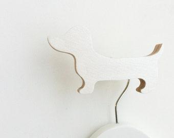 Dachsund Wall Hook White