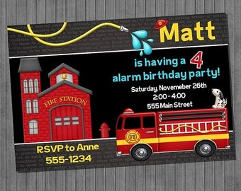 FLASH SALE 50% OFF Fire Truck Birthday Invitations