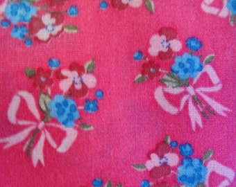Fabric, Cotton, Dark Rose with Blue and Pink Flowers Tied with Bows, 44 In Wide, Lightweight, Smooth, Soft