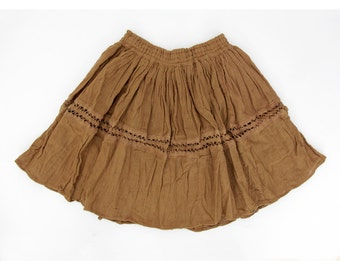 Vintage skirt // brown cotton full mini skirt // size S, M