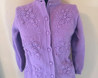 Loveable Lilac Cardigan - Vintage Cardigan Sweater - Large Cardigan - Women's Cardigan - Purple Cardigan - Vintage Sweater - 50's Cardigan