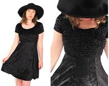 Vtg 90s Black Velvet Dress - 90s Grunge Goth Witchy Black Velvet BabyDoll Dress - 90s Normcore Minimalist Crushed Black Velvet Mini Dress
