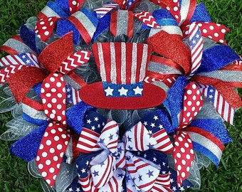 Patriotic 4th of July Red White Blue XXL Front Door Wreath