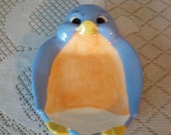 Hand Painted Ceramic Blue Bird Spoon Rest