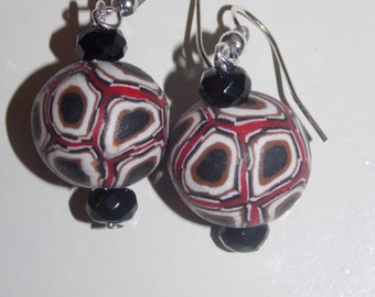 25%OFF Black and Red Mosaic Fimo Clay Earrings