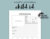 Child Identification PDF Printable; Child ID, Family Binder, Household Binder, Home Binder, Child Life, Child Name, Children Printable