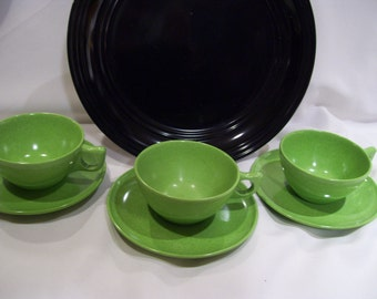 Set of 4 Branchell Melmac Cups and Saucers for Camping Durable