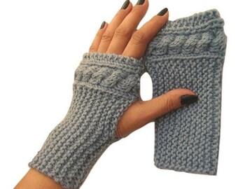 Cable Knit Fingerless Mitten, Blue, Wool, Fingerless Glove, Wool Mitt, Handknit, Wrist Warmers