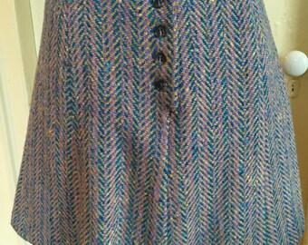 Vintage 1960's Brendella Purple Teal Wool Tweed Skirt