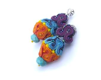 Oriental Colorful Dangle Earrings, Unique Soutache Earrings, Handmade Earrings, 3d Earrings, Soutache Jewelry, Dangle Earrings