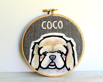 Custom Pet Portrait - Custom Portraits - Pet Portrait - Embroidery Hoop Art - Pet Lovers - Gift for Pet Lovers