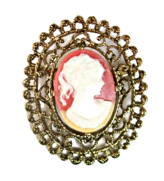 Custom Cameo Resin Pins Diy: Cameo Brooch Coral Resin Pony Tail Girl By EclecticVintager