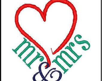 mr and mrs embroidery design wedding embroidery design heart mr and mrs wedding decor wedding gift embroidery design