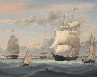 """Fitz Henry Lane : """"New York Harbor"""" (1852) - Giclee Fine Art Print"""