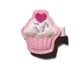 Girls Cupcake Hair Clip - Felt Cupcake Hair Clip - Birthday Hair Clip - Pink Cupcake Feltie Hair Clip