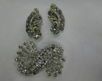 Bridal white rhinestone brooch and clip earring set  - Kramer [MV]